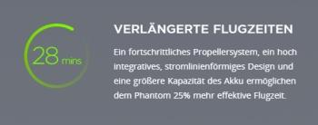 Um 25% länger fliegen im vergleicht zu Phantom 3 Professional.