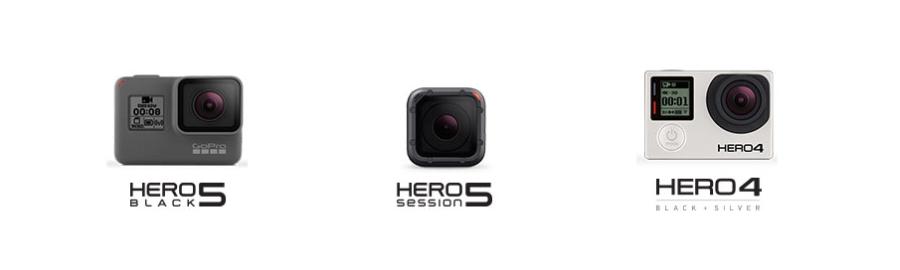 GoPro Karma ist mit Hero 5 Blck, Hero 5 Session und Hero 4 kompatibel.