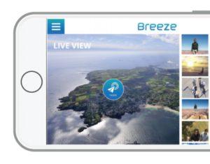 """Der Breeze lässt sich mit Smartphone oder Tablet ganz leicht steuern. Die """"Breeze Cam"""" App kann im App Store (iOS) oder Google Play Store (Android) heruntergeladen und sofort genutzt werden."""