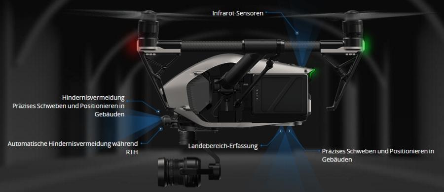 Nach vorne und nach unten gerichtete Visionsysteme ermöglichen dem Inspire 2 Hindernisse auf bis zu 30 Meter Entfernung wahrzunehmen.