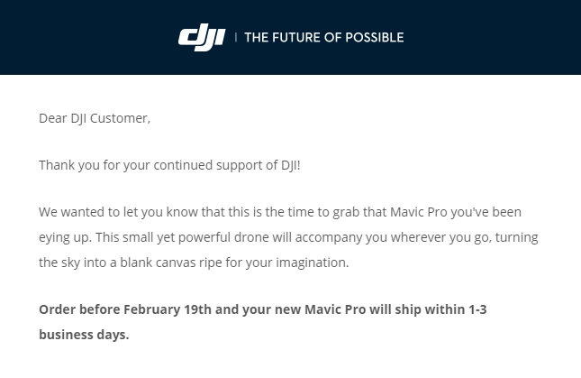 Offizielle Mitteilung von DJI: Mavic Pro Bestellungen werden nun innerhalb 1-3 Werktagen bearbeitet und in den Versand gegeben.