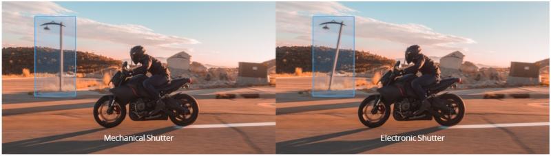 Bildervergleich zwischen den mechanischen und elektronischen Verschluss.